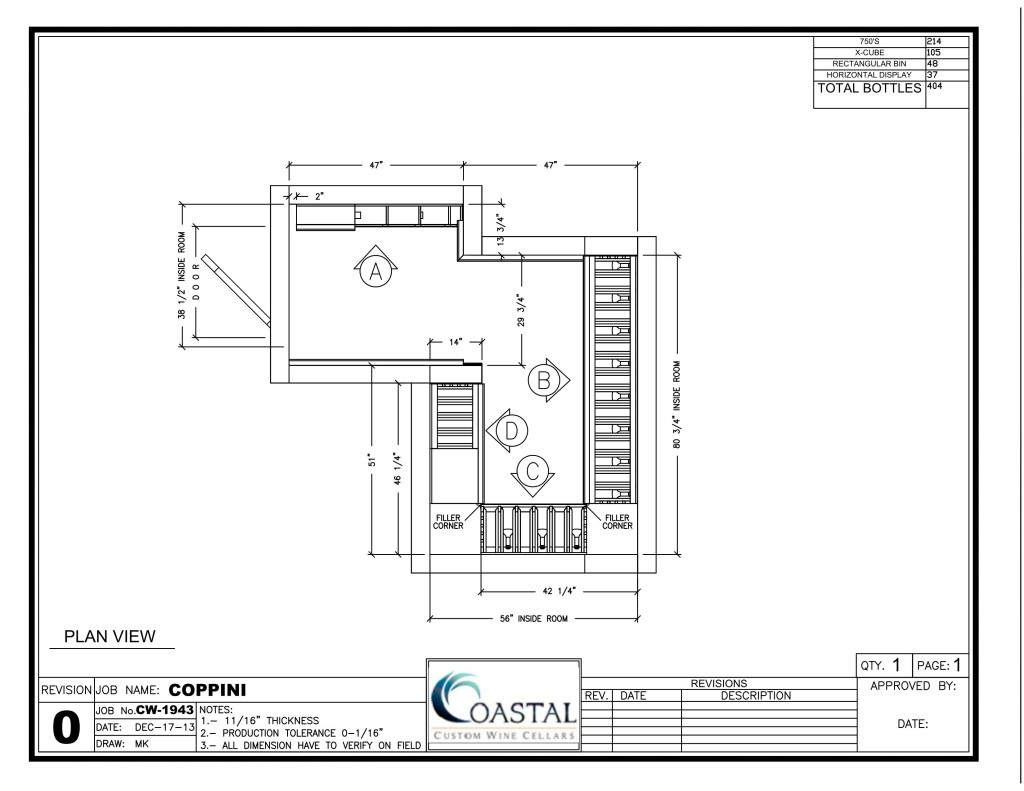 Wine Cellar Drawing Overhead View